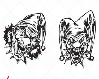 scary clown svg, clowns bundle dxf, cut file, cutting files, clip art, printable, Silhouette Cameo, iron-on, scary clowns digital stamp