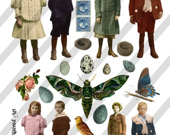 Digital Collage Sheet  Vintage Images Children and Ephemera (Sheet no. O123) Instant Download