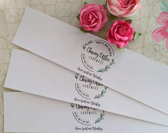 "50 8.5"" Paper Wrap - white or kraft - any width - Custom Design - Belly Bands, jar labels, envelope wraps , Paper Ribbon, Soap, t-shirts"