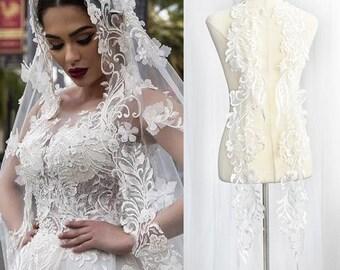 Off white Lace Wedding Dress/Boho Wedding Dress/Alencon lace applique/Bridal applique for a pair of 2/Prom Dress/Evening Dress/ALA-64