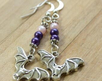 silver bat earrings,purple beads,pink beads,Halloween,Halloween earrings,Bat earrings,Halloween bats,Halloween bat earrings,purple beads