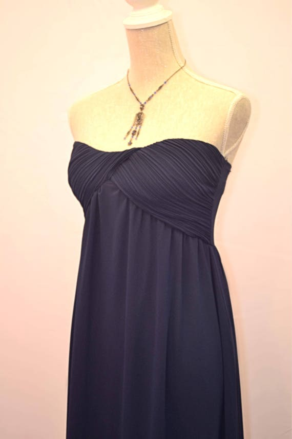 Strapless empire line Prom / evening dress in navy blue UK
