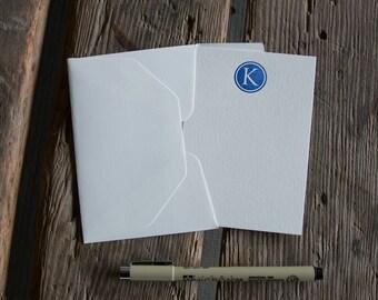 Custom Letterpress Flat Note Cards, 4 bar size Custom designed letterpress printed, eco friendly