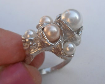 Bold Statement Cluster Pearl Ring, Organic Shells Silver Pearl Ring, large bold ring - made to order