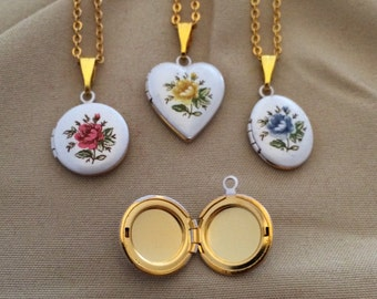 """Vintage Locket """"rose colored"""" on an 18 inch gold overlay link chain, available in three rose colors."""