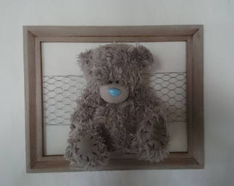 Carefree childhood. Frame and his bear plush standing or hanging on order