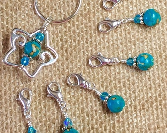 Star Stitch Marker Holder & Removable Stitch Markers - Blue Stitch Marker Organizer