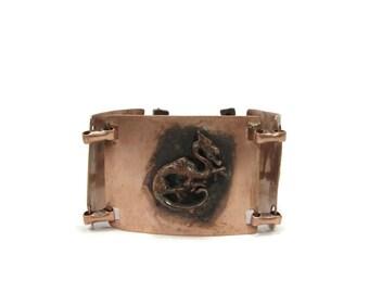 Vintage Copper Bracelet, Dragon Motif, Wide Bracelet, 8 Inch, Vintage Jewelry, Chinese Dragon, 1950s Jewelry, Burnished Copper