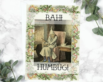 Bah Humbug Christmas Card - Literary Gift - Scrooge A Christmas Carol