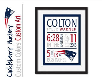 Patriots, Patriots Print, Patriots Baby, Birth Announcement Wall Art, Baby Stats, Custom Birth Subway Art, Personalized Birth Details