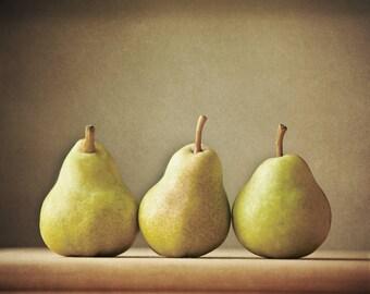 Pear Photograph, Kitchen Decor, Still Life Fruit Print