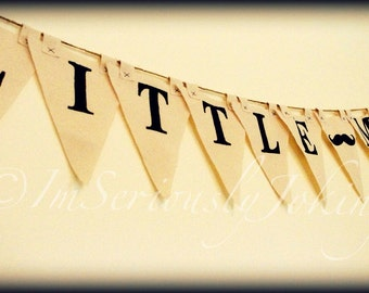 Little Man - Party Banner - Mustache- Little Man Party- Canvas Banner- Baby Shower- Birthday Decorations