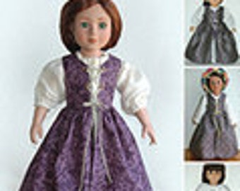 """Historical 18"""" Doll Clothes Pattern for Renaissance Dress and Chemise in 2 Sizes: for 18"""" American Girl Dolls and for Slim Carpatina dolls"""