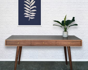 Bloom Desk / Console Table in Solid Walnut - Danish Modern Style - In Stock!