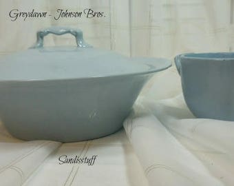 Greydawn by Johnson Bros. England - Covered Vegetable Dish and Sugar Bowl - New - Never Used