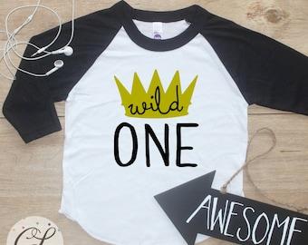 Birthday Boy Shirt / Baby Boy Clothes Crown King Wild One Thing 1 Year Old Outfit First Birthday TShirt 1st Birthday Cake Smash Raglan  021
