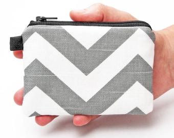 Grey Coin Purse, Small Zipper Pouch, Women's Change Purse, Credit Card Wallet, Small Makeup Pouch - grey white chevron