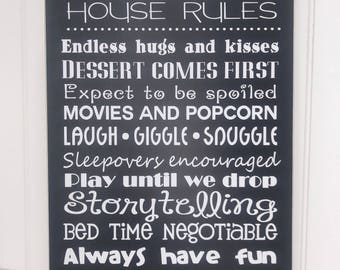 Grandparents House Rules Wooden Sign, Personalized Gift For Grandparents, Rustic Decor, Country Decor, Christmas Present For Grandparents