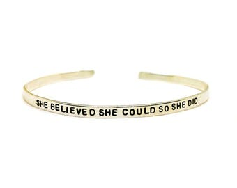 She Believed She Could Handstamped Skinny Cuff // Feminist Jewelry + The Future Is Female + Mantra Bracelet + Women's Rights + Inspirational
