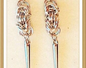 MWL Chain Mail with spike dangle earrings
