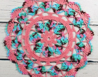 """Crocheted Rose Pink Aqua Brown Green Variegated Table Topper Doily - 10 1/2"""""""