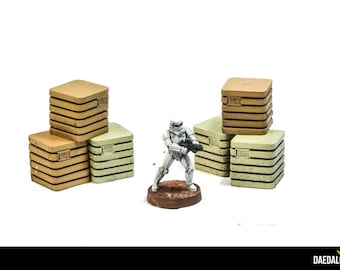 Star wars legion: lot de 6 caisses pour jeux de figurines 28mm imperial assault, infinity, space hulk, mercs