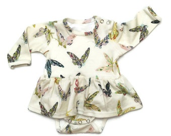 Organic bodysuit dress in butterfly print, organic bodysuit, baby bodysuit, baby dress, organic baby clothes, baby girl dress, bodysuit