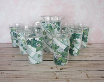 Vintage Pitcher & Tumbler Set 8 Plastic Tumbler Cups With Fabric On Inside Vintage Green