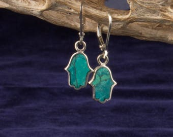 Stone and Sterling Silver Hamsa Earrings
