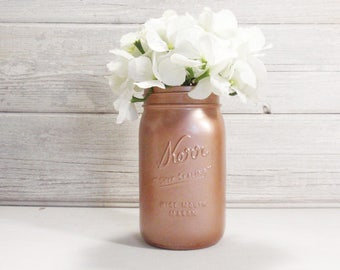 Hand Painted Wide Mouth Quart Mason Jar Flower Vase-Country Decor-Cottage Chic-Shabby Chic-French Chic- Wedding Decor