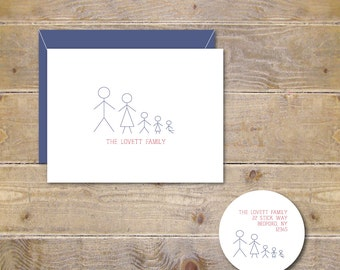 Note Cards, Family Stationery, Family Thank You Cards, Family Notes Cards, Stick Figures Cards, Stick Figure Family, Thank You Cards