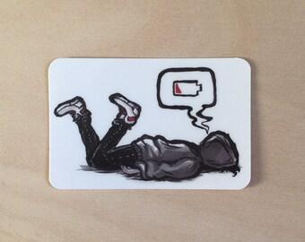 Tired Vinyl Sticker - Dead Battery, Drained