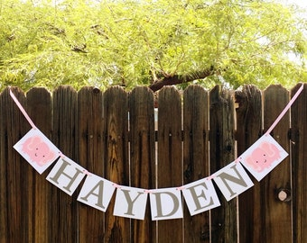 Custom Name Banner / Elephant Baby Shower Decoration / Kids Room Decor / Child's Name / Personalized Wall Art / Nursery Garland / Baby Name