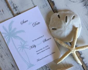 Wedding Save the Dates / Beach Theme / Palm Trees / Save the Date Cards / Announcement / Beach Wedding