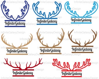 Split Deer antlers monogram - Instant download Digital Cutting files for Silhouette and Cricut clipart design svg dxf jpg png stag (n46)