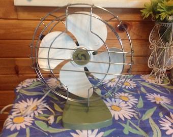 Superior Electric Fan Green and White Fan Rotating Fan Antique Electric Metal Fan Table Top Fan