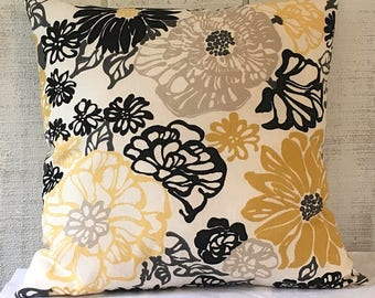"""Flowered 18"""" Pillow cover / ready to ship/ cottage, modern / SALE"""