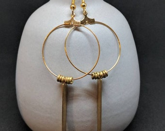 gold slate pendant & brass heishi hoop (small)