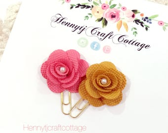 Planner Clip : Tangerine & Mustard flowers Gold PaperClip | Page Clip | Bookmark | Page Marker . Planner accessories supply.