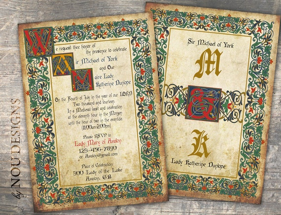 Medieval Wedding Invitation Wording: Medieval Manuscript Bridal Shower Wedding Invitation RSVP