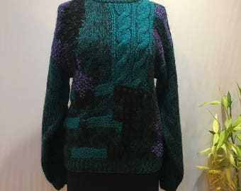 Amazing abstract jewel tone 80's sweater.