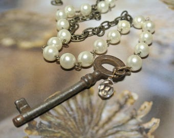 Skeleton Key Rosary Necklace, Rosary Style Chain, Crystal Charm, Brass Chain, Unique Antique Key,Great Gift, Authentic Key By UPcycled Works