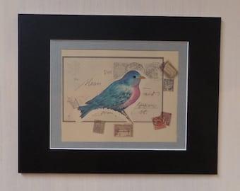 Original Water Color Blue Bird Collage Art