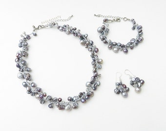 Jewelry set - Gray freshwater pearl necklace, bracelet, earrings, bridal jewelry, wedding jewelry set, gray pearl jewelry set