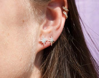 North star - tiny earrings - tiny cz earrings - star earrings - star stud - starburst earrings - cz earring - zodiac jewelry J1-SF-1376-STUD