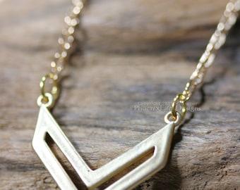 Gold Chevron Necklace, Minimalist Geometric Shape Jewelry, Small Chevron Pendant, Satin Hamilton Gold, Best Friend Gift, Bridesmaid Necklace