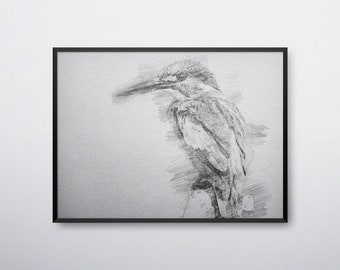 Kingfisher Bird, Kingfisher Art, Kingfisher Print, Kingfisher Poster, Kingfisher Printable, Kingfisher Wall Art,Sketch Art, INSTANT DOWNLOAD