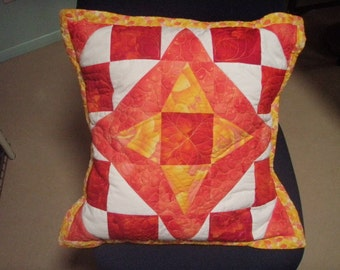 Tangerine White Quilted Pillow Cover Sham - Fire and Ice Handmade