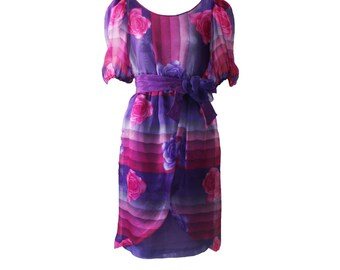 Vintage Hanae Mori Pink and Purple Floral Printed Silk Organza Dress 1980s