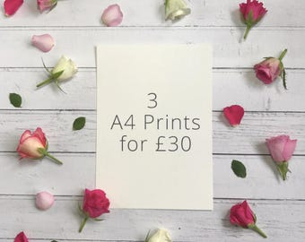SALE - Set of 3 A4 Art Prints | Inspirational and Uplifting Wall Art Discount | Watercolour Painting